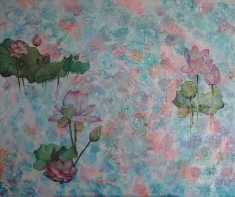 """""""Lotus"""" acrylique & techniques mixtes sur toile 3D 120x100."""