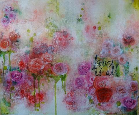 """""""Roses"""" acrylique & techniques mixtes sur toile 3D 60x50."""