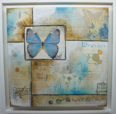"""Série """"Butterflies"""" (Papillons). Acrylique, encre & techniques mixtes sur toile 3D encadrée."""