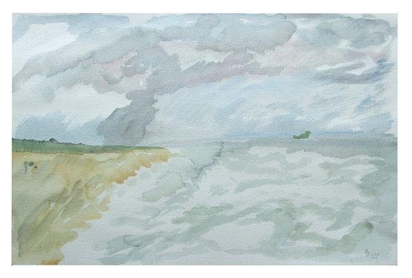 """Aquarell """"Côte d'Argent I"""", Werk-Nr. 075, Florence Solvay"""