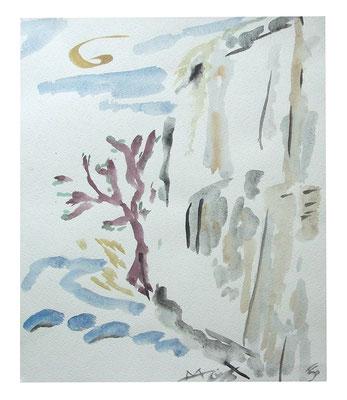 "Aquarell ""Bergfrühling Schweiz"", Werk-Nr. 098, Florence Solvay"