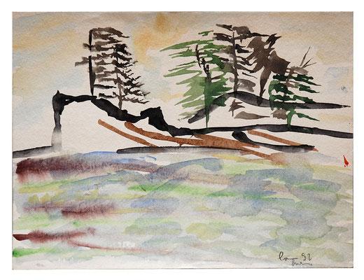 "Aquarell ""Vancouver Island"", Werk-Nr. 055, Florence Solvay"