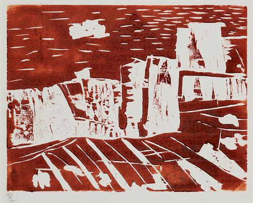 "Holzschnitt ""Mount St. Elias – Siena I"", Werk-Nr. 106, Florence Solvay"
