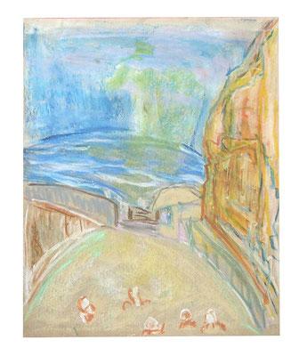 "Pastell ""Vulcano Schlammbad"", Werk-Nr. 077, Florence Solvay"