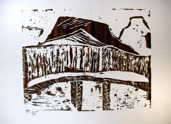 """Holzschnitt """"Die Brücke nach Kennicott II"""", Werk-Nr. 027a, Florence Solvay"""