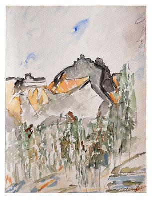 "Aquarell ""Alaska Mount St. Elias"", Werk-Nr. 054, Florence Solvay"