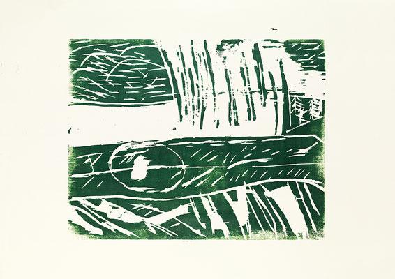 "Holzschnitt ""Die versunkenen Wälder Alaskas II"", Werk-Nr. 026a, Florence Solvay"