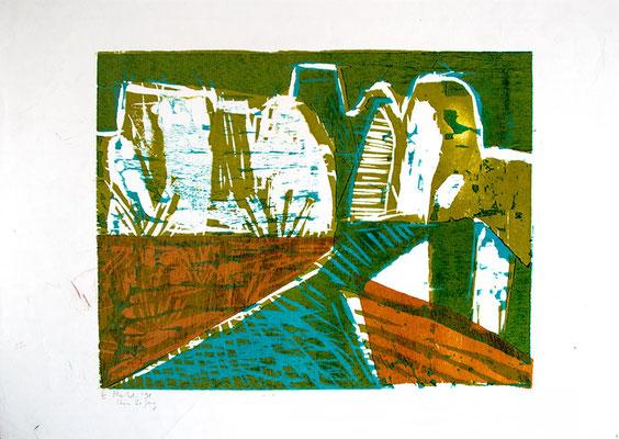 "Holzschnitt ""Li Yang Grün"", Werk-Nr. 092a, Florence Solvay"
