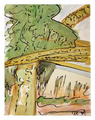"Aquarell ""Urwald Kenia"", Werk-Nr. 050, Florence Solvay"