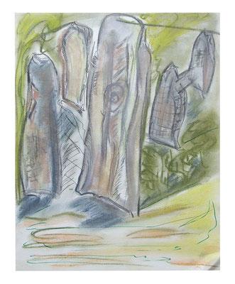 """Pastell """"Menhire"""", Werk-Nr. 080, Florence Solvay"""