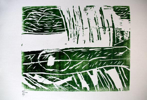 "Holzschnitt ""Die versunkenen Wälder Alaskas I"", Werk-Nr. 026, Florence Solvay"