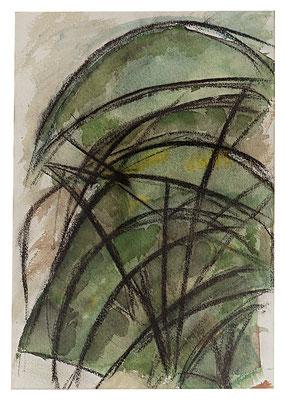 """Aquarell """"Pinien"""", Werk-Nr. 046, Florence Solvay"""