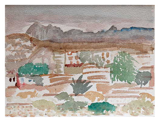 "Aquarell ""Naxos Griechenland"", Werk-Nr. 068, Florence Solvay"