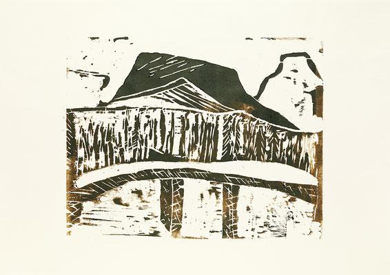 "Holzschnitt ""Die Brücke nach Kennicott I"", Werk-Nr. 027, Florence Solvay"