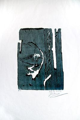 """Holzriss """"Lichterscheinung"""", Werk-Nr. 139, Florence Solvay"""