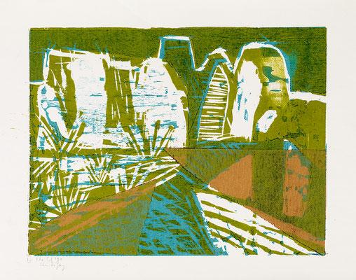 """Holzschnitt """"Li Yang Grün"""", Werk-Nr. 092, Florence Solvay"""