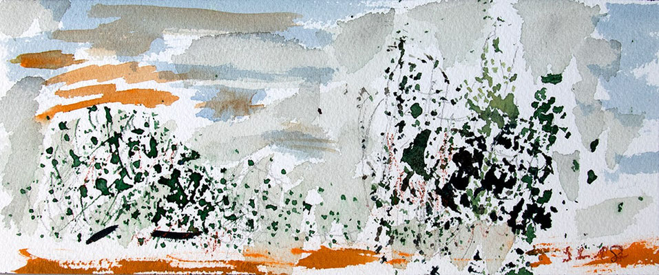 "Aquarell Korallendruck, ""Sri Lanka II"", Werk-Nr. 155, Florence Solvay"
