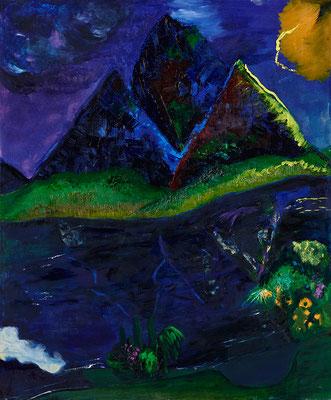 """Landschaft """"Nächtliches Gewitter im Tessin"""", Werk-Nr. 104, Florence Solvay"""