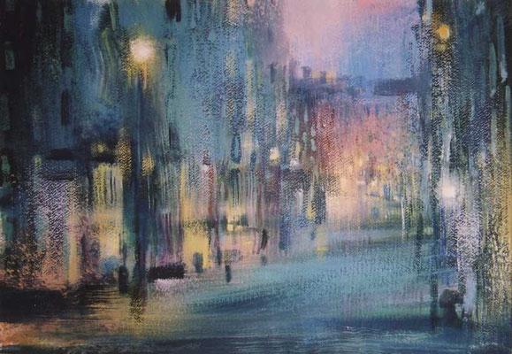 Надежда Анфалова — «Вечерняя улица». Бумага, темпера, 45*59 см, 2004.