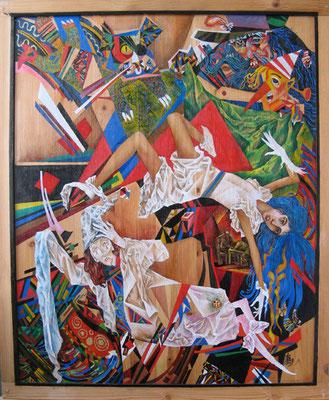 Смерть Мальвины, дер., темп., 80х70, 2009
