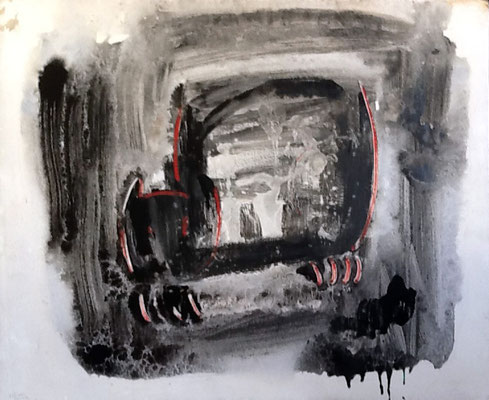 60x73 cm. Mixta sobre lienzo. Gato negro