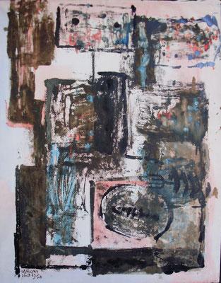 93x73.  Mixta sobre lienzo. Hombre con sardina