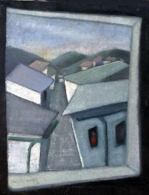 1956. 46x38 m. Oleo sobre lienzo.  Casas