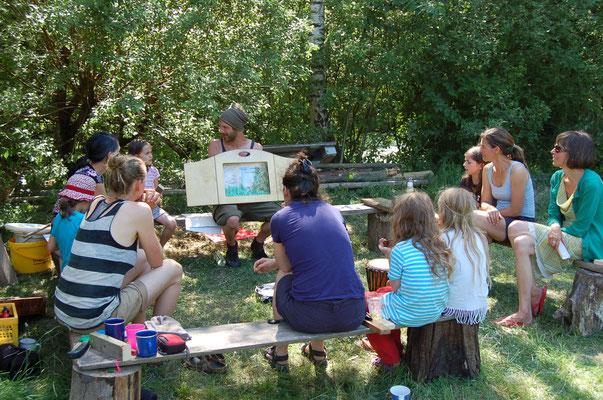 Geschichten erzählen für die ganze Familie - Familiencamp Wildnisschule Habichtswaldd