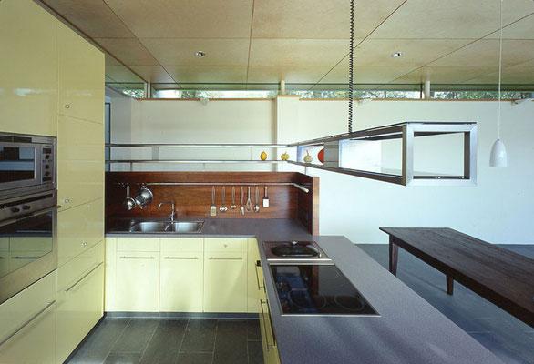 Küche: Holzwerkstoffplatten furniert/Gefärbtes Glas/Nirosta - Foto © R. Steiner