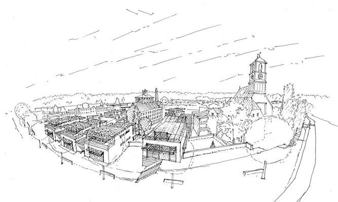 Städtebauliche Neustrukturierung des ehemaligen Greinbräugeländes, Wasserburg a. Inn-D, 1994 - 2. Preis