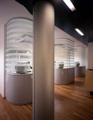 Behandlungsbereiche mit semitransparenten, gebogenen Glaswänden samt Unterschränken.