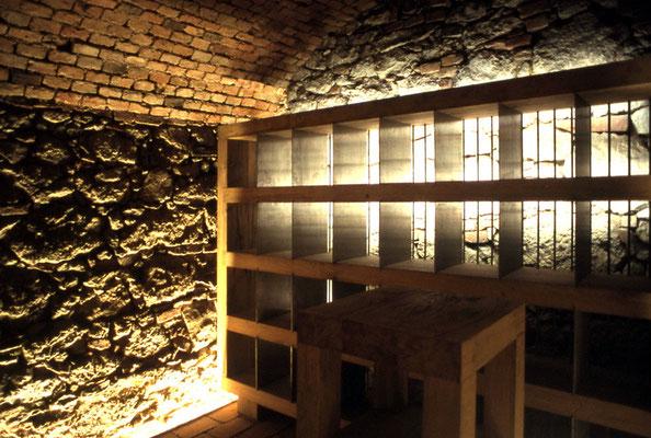 Weinregal hinterleuchtet aus Eichenholz massiv, Fachunterteilungen aus Nirosta gebürstet - Foto © Knauer Architekten
