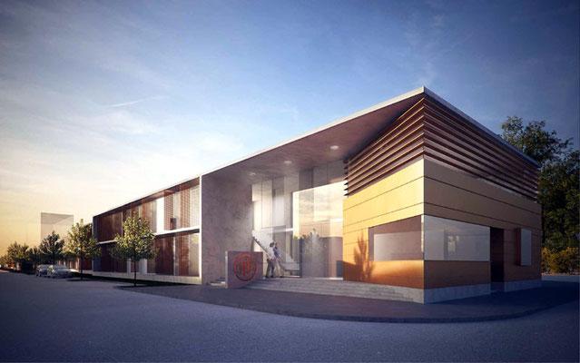 """Büro- und Veranstaltungszentrum """"Office Park Hirtenberger"""", A-Hirtenberg, Gutachterverfahren 2012 - 2. Preis"""