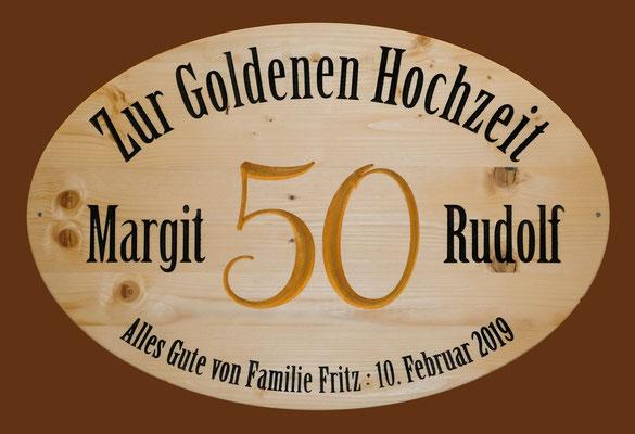 Schild für goldene Hochzeit