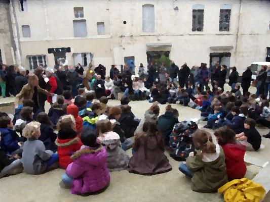 St Roch-Ecusson- Montpellier -Enfants école - Printemps des Poètes - mars 2017 - photo D. Ferré