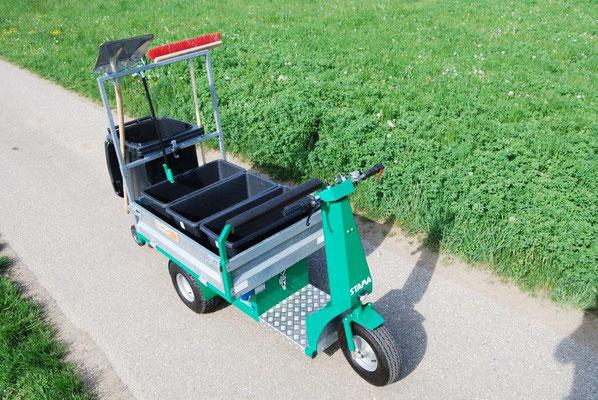 Elektrodreirad zur optimalen Mülltrennung