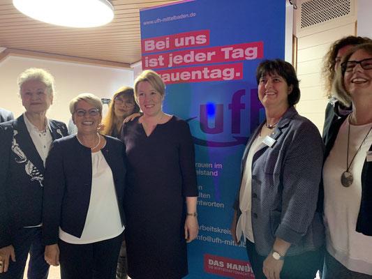 01-2019 Hoher Besucht bei ufh. Ministerin Giffey, Ursula Cantieni, Katja Epstein und MdB Gabriele Katzmarek