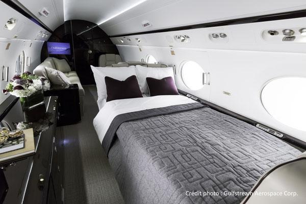 La cabine du Gulfstream G550 en configuration nuit.