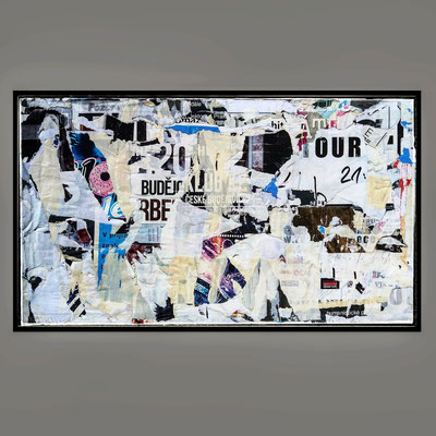 Atour, décollage with felt pen, 29,5 x 52,0 cm, 2021