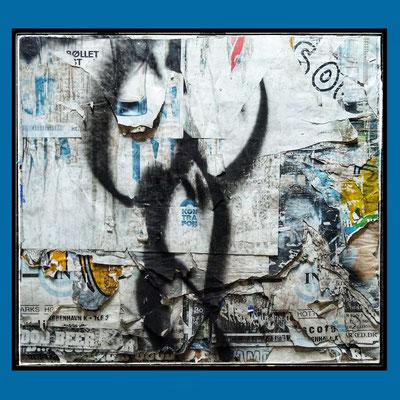 Viki, décollage with spraypaint, ca. 76 x 84 cm, 2021
