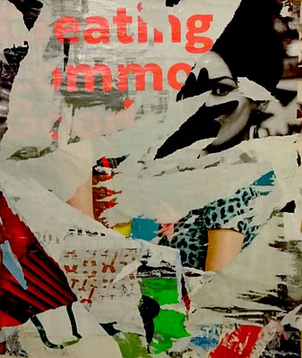 eating, Vienna, 4. Bezirk (4th district), Décollage, 77 x 58 cm, 2016