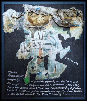 Libera me, décollage on canvas with acrylic and chalk marker, 80 x 71 cm, 2020