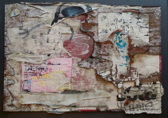 Rechte Wienzeile, Décollage on plastic board, 25,5 x 32,5, 2016