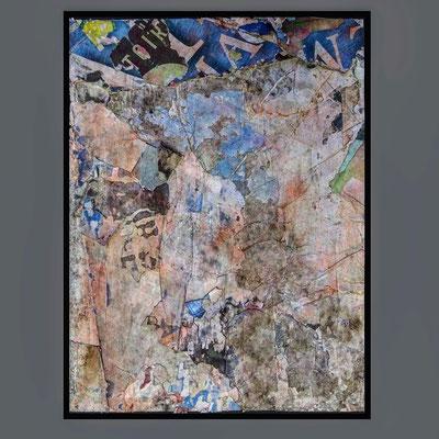 Toiran, décollage (retro d'affiche) with schellack, 41,3 x 31,0 cm, 2021