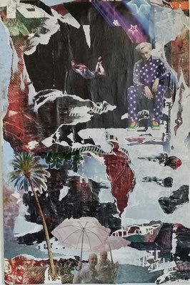 Wen die Götter lieben, Décollage with Collage, 60 x 40 cm, 2014
