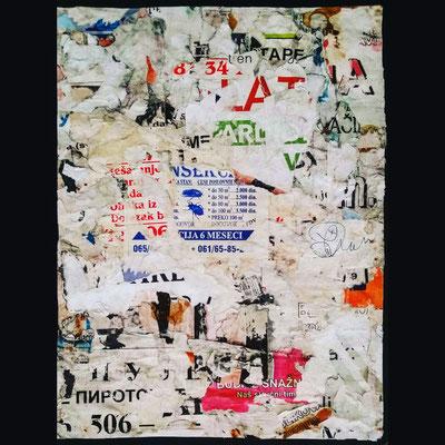 Kursulina, décollage, 31 x 26 cm, 2018