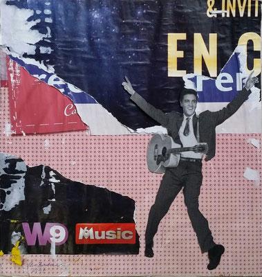 Elvis, Collage on Décollage, 30,8 x 29,4 cm, 2017