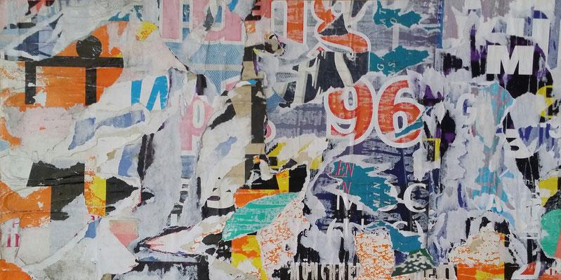 Schwabing 96, Décollage, 27,2 x 53,7 cm, 2016