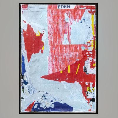EDEN, décollage with rusty staples, 88,3 x 61,1 cm, 2021