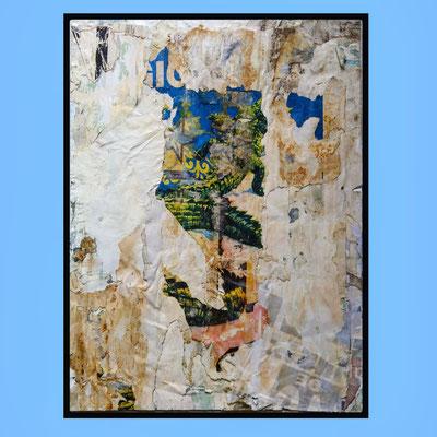 Croco, décollage (retro d'affiche) with schellack, 59,2 x 44,2 cm, 2021